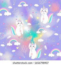 Vector illustration .Pattern with cute caticorn and clouds and a rainbow.Fairyland.