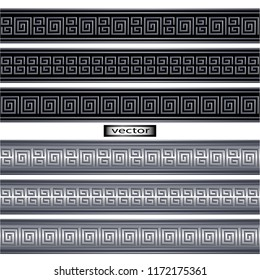 Vector illustration pattern embossed 3D metal image of the Greek and Roman ornament design in a classic style.