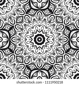 vector illustration. pattern with floral mandala, decorative border. design for print fabric, super bandana.