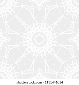 Vector illustration. pattern with floral mandala, decorative seamless ornament. design for print fabric, modern bandana