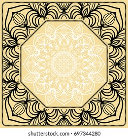 Vector illustration. Pattern with floral Mandala, Decorative Border. Design for print Fabric. Black, gold, white color