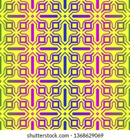 Vector Illustration. Pattern With Geometric Ornament, Decorative Border. Design For Print Fabric. Paper For Scrapbook. Yellow rainbow color.