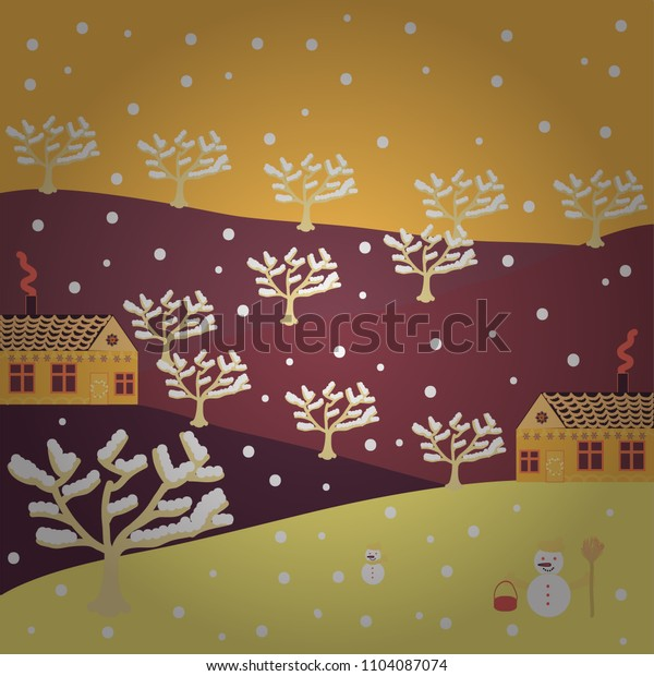 Vector illustration. Pattern houses. Illustration on brown, white, red, yellow and purple colors.