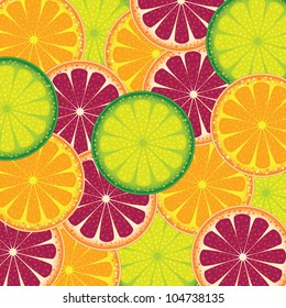 Vector illustration of a pattern of juicy fruit orange, lime and grapefruit.