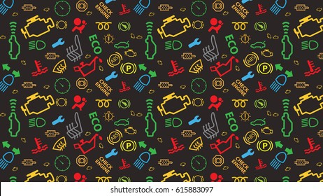 Vector illustration pattern on blue background. Car dashboard icons pack texture. Repeating mixed dtc code signs. Coloured, irregular, check engine big sign.