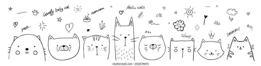 vector illustration pattern set of pretty kittens. graphic design for decorated. linear sketches of animals for design and decoration of gifts and printing on T-shirts