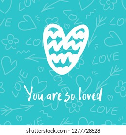 Vector illustration pattern with white hand drawn heart and many hearts on background. Happy Valentine`s Day greetings love card