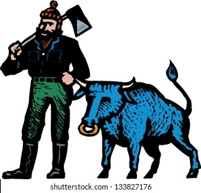 Vector illustration of Paul Bunyan and his blue ox