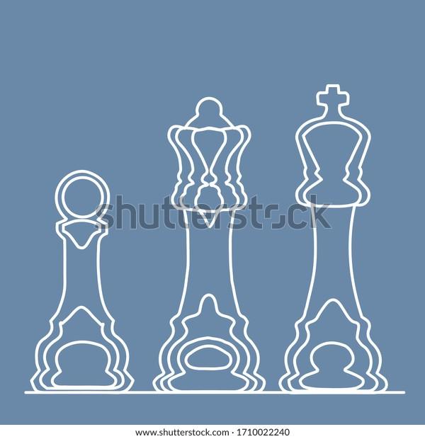illustration vectorielle, pion d'échecs sur fond bleu