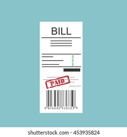 Vector illustration paying bills concept. Payment of utility, bank, restaurant and other bills. Giving or receiving bill. Bill with red rubber stamp paid.