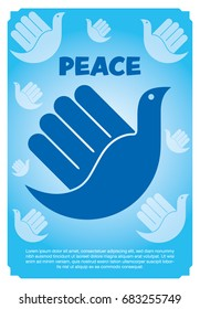 vector illustration peaceful of the bird in hand like Hamsa, hand of Fatima, vector illustration
