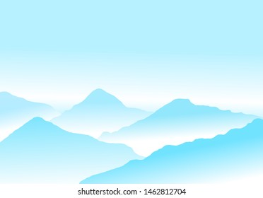 Vector illustration of Peaceful image of calm landscape with vibrant abstract blue mountains and pale sky. Light blue mountains meditative background with mist between mountains.