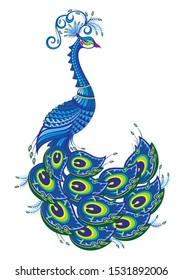 Vector illustration of peacock. Fantasy bird
