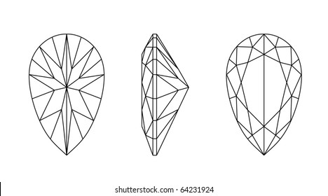 Vector  illustration pear shapes of a gemstone against white background. Wireframe