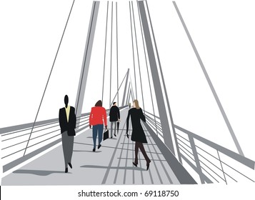 Vector illustration of pedestrian bridge, river Thames, London England.