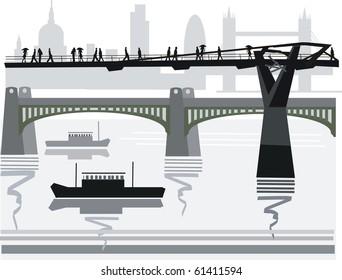 Vector illustration of pedestrians crossing city footbridge over Thames River, London, England.