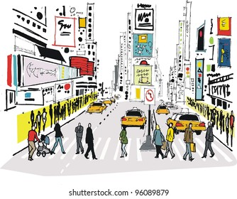 Vector illustration of pedestrians crossing road at Times Square, New York