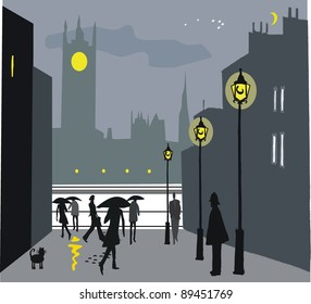 Vector illustration of pedestrians at night in London, England.