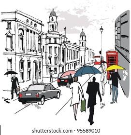 Vector illustration of pedestrians in Whitehall, London England