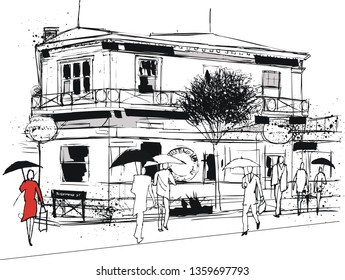 Vector illustration of pen and ink style street scene in Petone New Zealand showing old hotel and pedestrians.