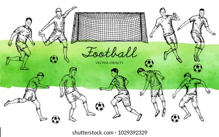 Vector illustration. Pen style drawn vector set. Football players. Vector objects set.