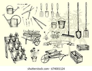 Vector illustration. Pen style sketch. Garden equipment. Vector objects set.