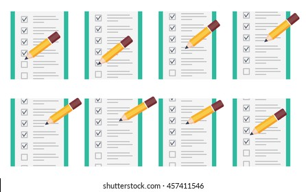Vector illustration of pencil checking on to do list animation sprite isolated on white background