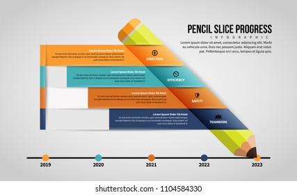 Vector illustration of Pencil Slice Progress Infographic design element.