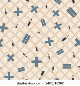 Vector illustration of pencils and math symbols on neutral criss cross background. Seamless pattern for back to school supplies, textile, gifts, wallpaper and scrapbooking.