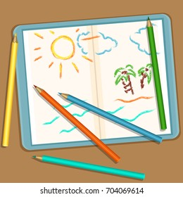 Vector Illustration: Pencils and Notebook with Colored Childs Sketch Drawings - Sun, Sky and Ocean.