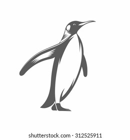 Vector illustration of a penguin in the old-fashioned style and line-art style. Can be used as a tattoo / Penguin vintage vector illustration