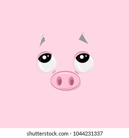 Vector illustration of the pensive funny pig face on pink background.