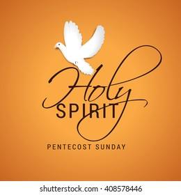 Vector illustration of Pentecost Holy spirit dove.