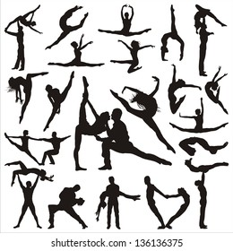 Vector illustration of people in acrobatic dance