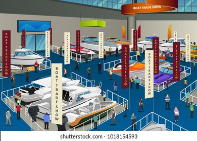 A vector illustration of People Attending Boat Show