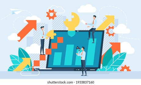 Vector illustration people are building a business on the internet. Laptop screen with a website. Teamwork,promotion of business online, the takeoff rating of the work, ideas vector