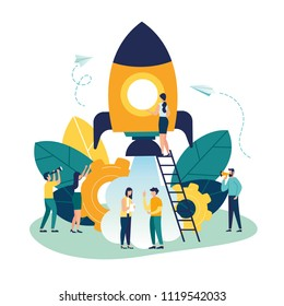 vector illustration people are building a spaceship rocket. cohesive teamwork in the startup