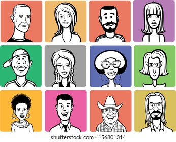 Vector illustration of people cartoon faces