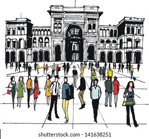 Vector illustration of people in city square, Milan, Italy,