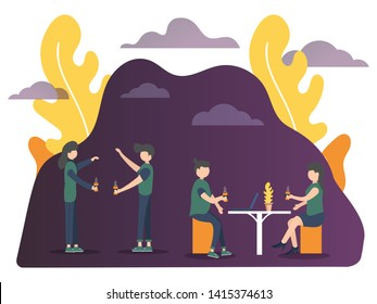 Vector illustration. People are communicating, collaborating, teamwork, synergy, compactness, making plans, talking, motivating. flat cartoon character graphic design. Landing pages, webpage template.