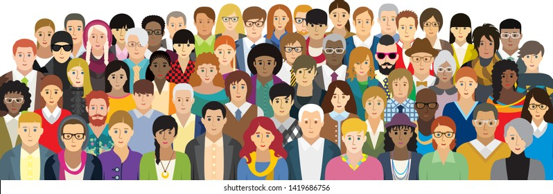 Vector illustration of people with different characteristics. Each character is individual and is not repeated in the illustration. (option face)