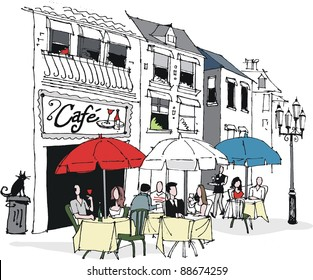 Vector illustration of people dining at French cafe.