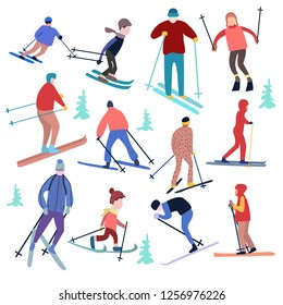 vector illustration people dressed in winter clothing and skiing male and female. Winter vacation concept.