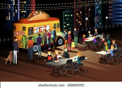 A vector illustration of People Eating Taco at Taco Truck at Night