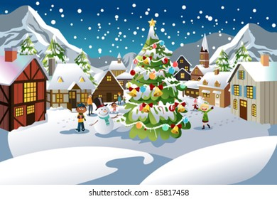 A vector illustration of people enjoying the Christmas season in a village with snow all over the place