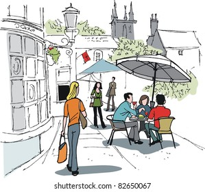 Vector illustration of people enjoying drinks outside hotel