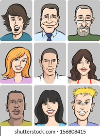 Vector illustration of people faces collection. Easy-edit layered vector EPS10 file scalable to any size without quality loss. High resolution raster JPG file is included.