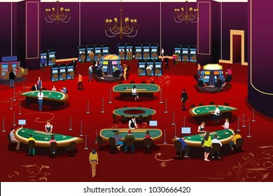 A vector illustration of People Gambling in Casino