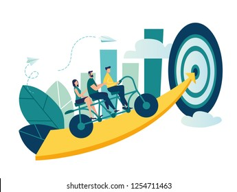 Vector illustration of people go team n the bike to his goal, to move up the motivation Path to the goal