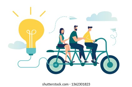 Vector illustration of people go team N bike to their goal, to move up the motivation. Way to the goal, pedal for energy and ideas.